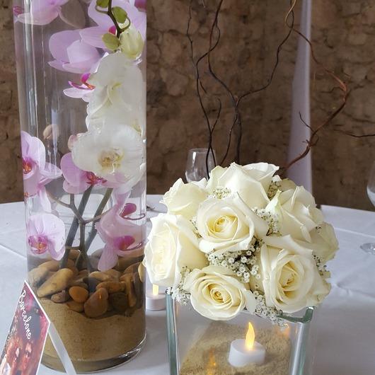 Bouquet sur table mariage